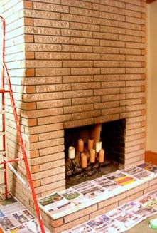 Instead Of Cleaning Or Painting Brick Stain Your Brick Fireplace With Concrete Stain Brick Fireplace Makeover Brick Fireplace Stained Concrete