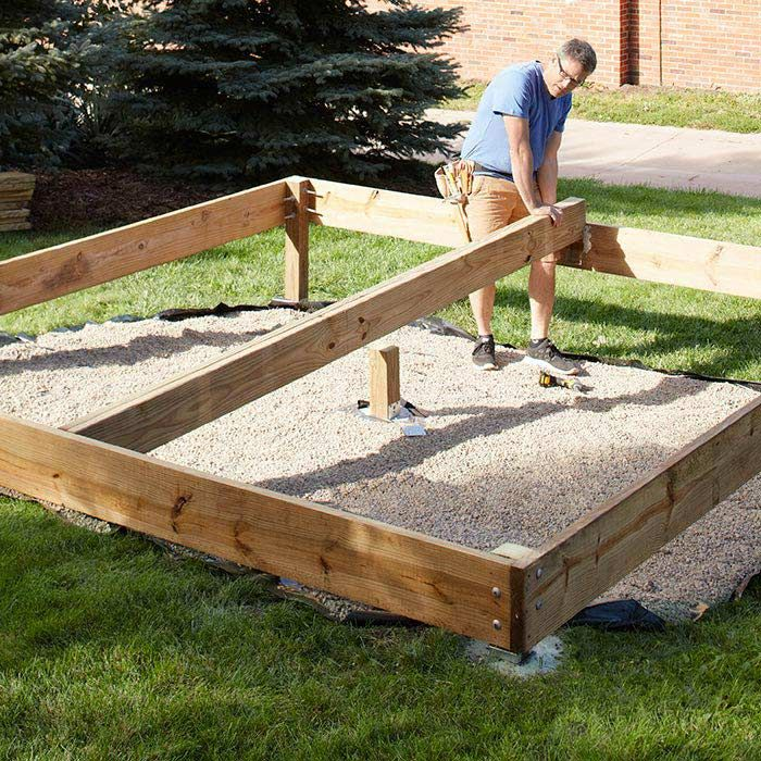 Building and setting deck posts and footings footings for Simple platform deck plans