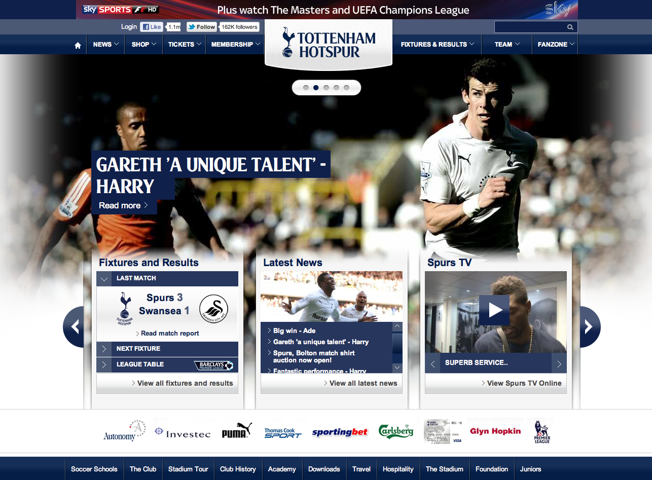 Tottenham Hotspur  Designed to be the best website in the