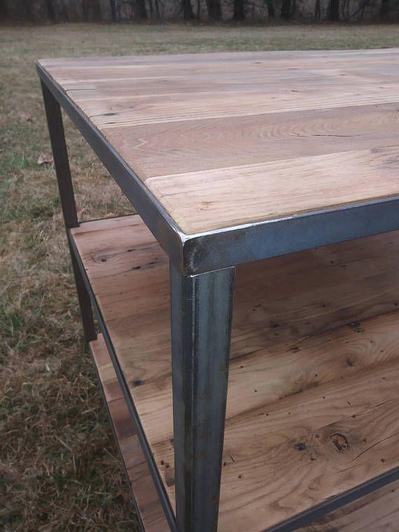 metal leg island with wood top and shelves prep station shelving rh pinterest com
