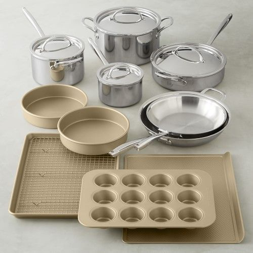 Signature Thermo Clad Cookware Set Goldtouch Bakeware Set