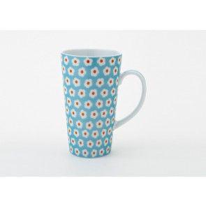The Daisy Collection Latte Mug Blue 10 Oz Yedi Blue Daisy Coffee Mug Hannukah Gift Ideas Latte Mugs Coffee Mugs Coffee Mug Sets