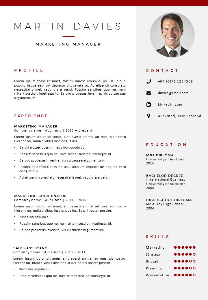 CV Template Auckland Cv template, Resume design template