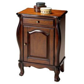"""Display your favorite pillar candles or antique finds on this handsome accent table, crafted from wood with a curving silhouette and claw feet.      Product: Accent table   Construction Material: Solid wood   Color: Plantation cherry   Features: Storage area behind framed door   Single drawer    Dimensions: 30"""" H x 22"""" W x 12"""" D"""