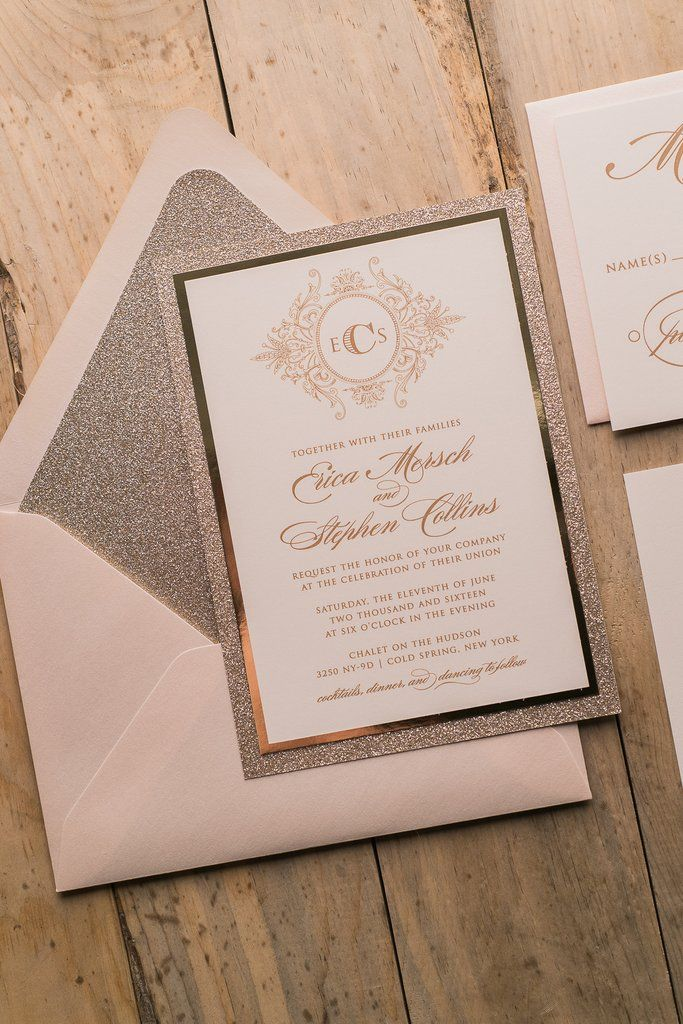 wildflower wedding invitation templates%0A ABIGAIL Suite Fancy Glitter Package  Monogram Wedding InvitationsGold