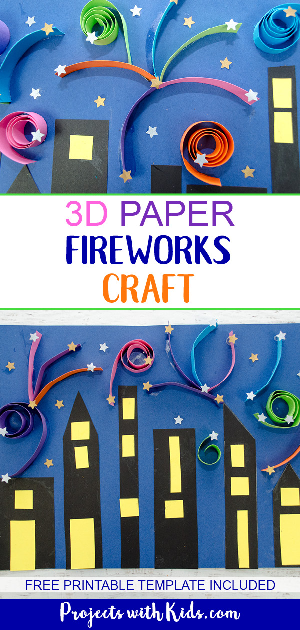 3D Paper Fireworks Craft with Printable