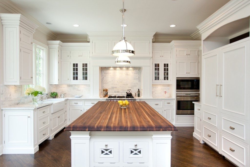White Kitchen Cabinets With Butcher Block Countertops From Slab