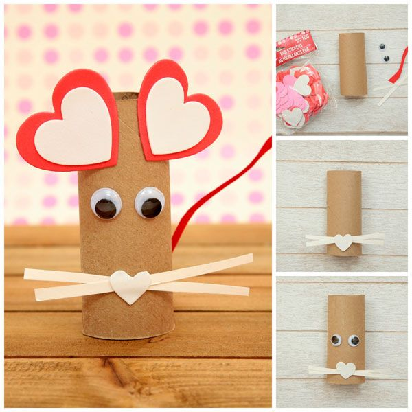 Paper Roll Heart Mouse Craft for Kids #mousecrafts
