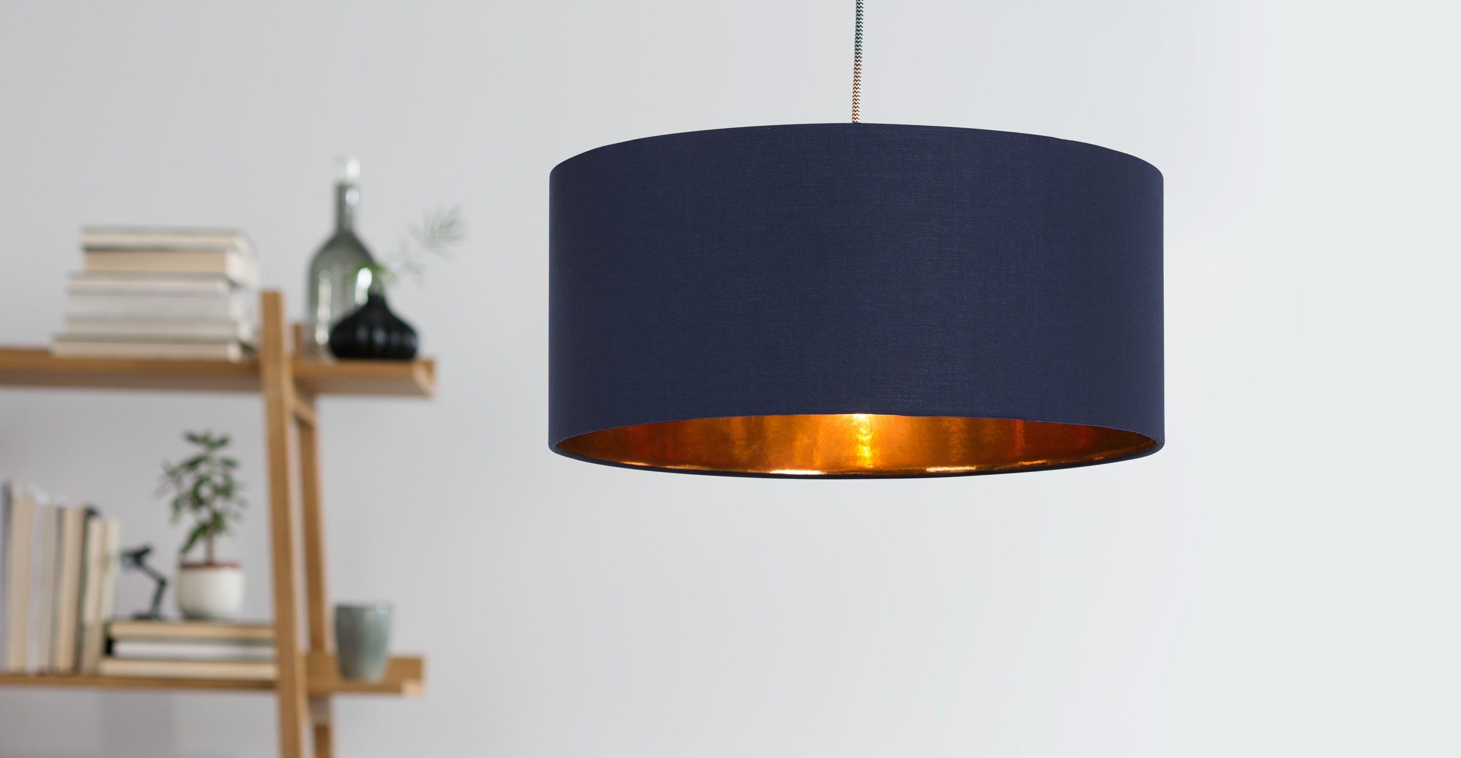 Lampenschirm Schlafzimmer ~ Hue lampenschirm cm navy und kupfer lampenschirme