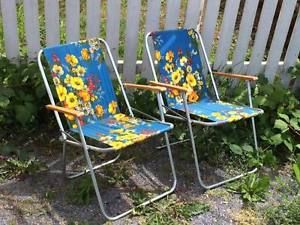 Vintage Blue Floral Retro Fold Up Lawn Chairs Lawn Chairs Retro Armchair Chair