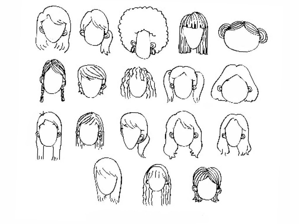 Women Cartoon Facial Features To Draw Hair Nose Lips