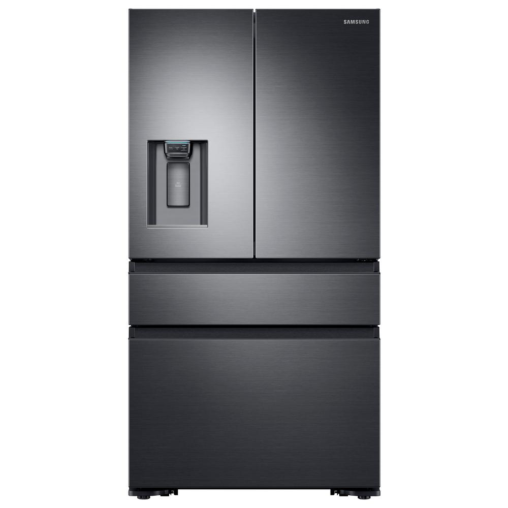 Samsung 22 6 Cu Ft 4 Door French Door Refrigerator With Recessed Handle In Black Stainless Counter Depth Rf23m8070sg The Home Depot Samsung Refrigerator French Door Black Stainless Refrigerator French Doors