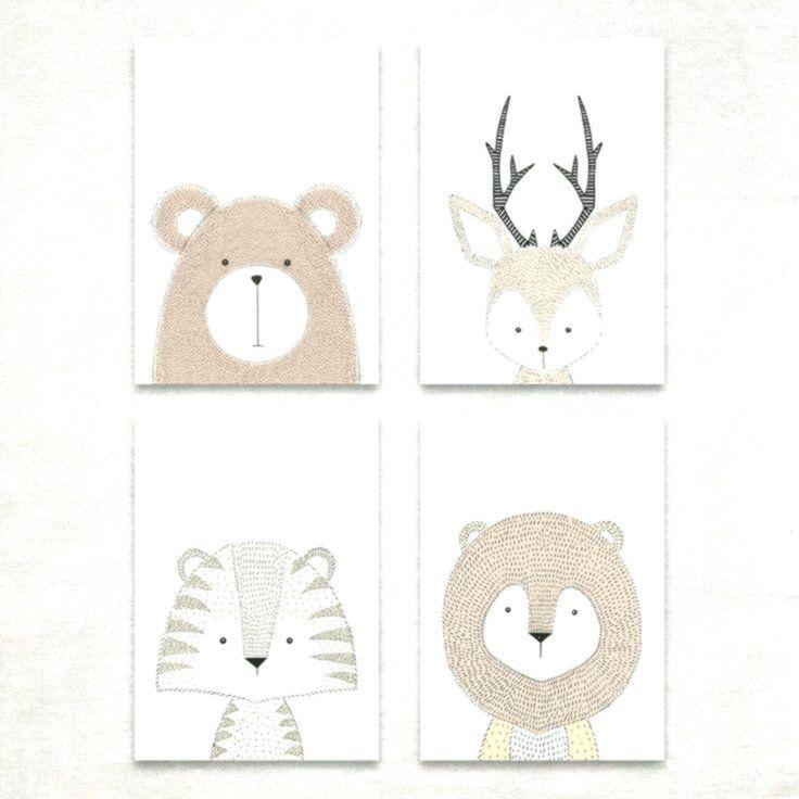 Bild Set Tiere Kunstdruck A4 Hirsch Bär Tiger Löwe