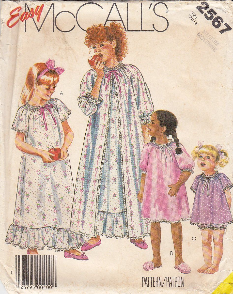 McCalls Sewing Pattern 2567 Girls Size 8-10 Easy Nightgown Robe Baby ...