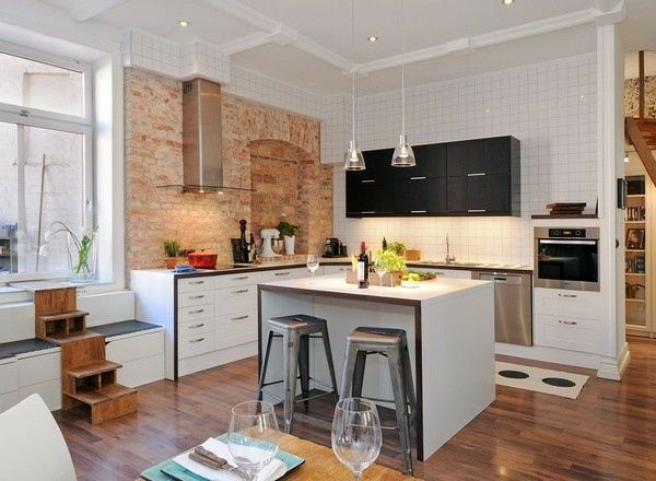 Beautiful kitchen island designs include breakfast bar and pallets wood floor also white wall paint modern kitchen islands lighting contemporary design and