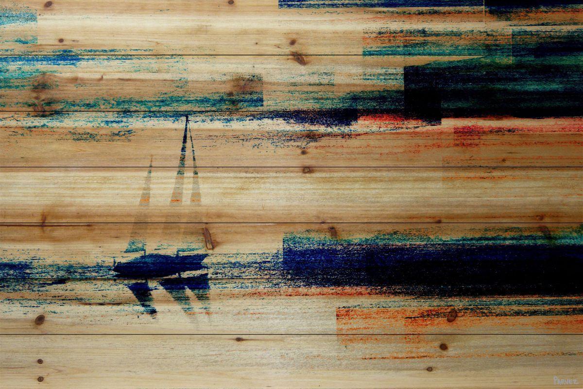 Parvez taj aegean sea on pine wood art print on natural pine wood