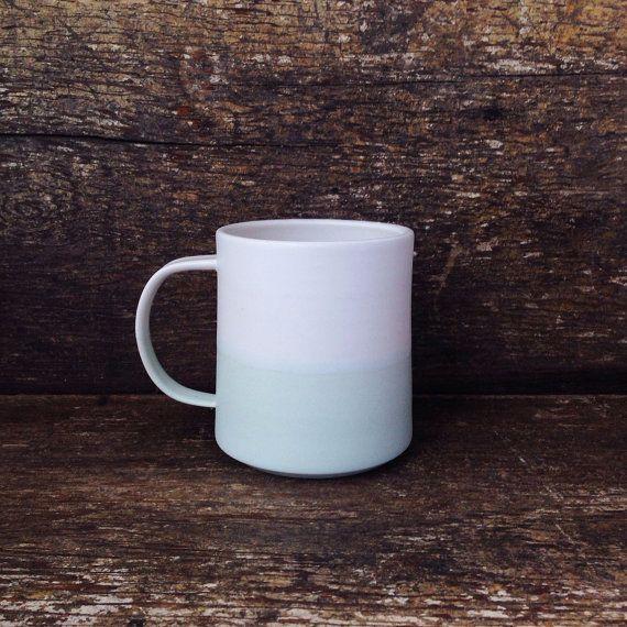 Handmade Danish Mug in Mint White Color by paperandclaystudio, $42.00