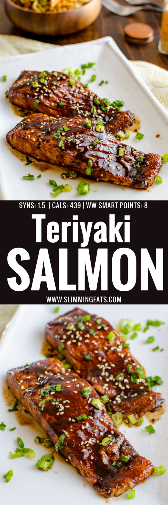 Love Salmon? This Teriyaki Salmon with Noodles is a simple low syn delicious dish that the whole family will enjoy. Dairy Free, Slimming World and Weight Watchers friendly | www.slimmingeats.com #salmonteriyaki