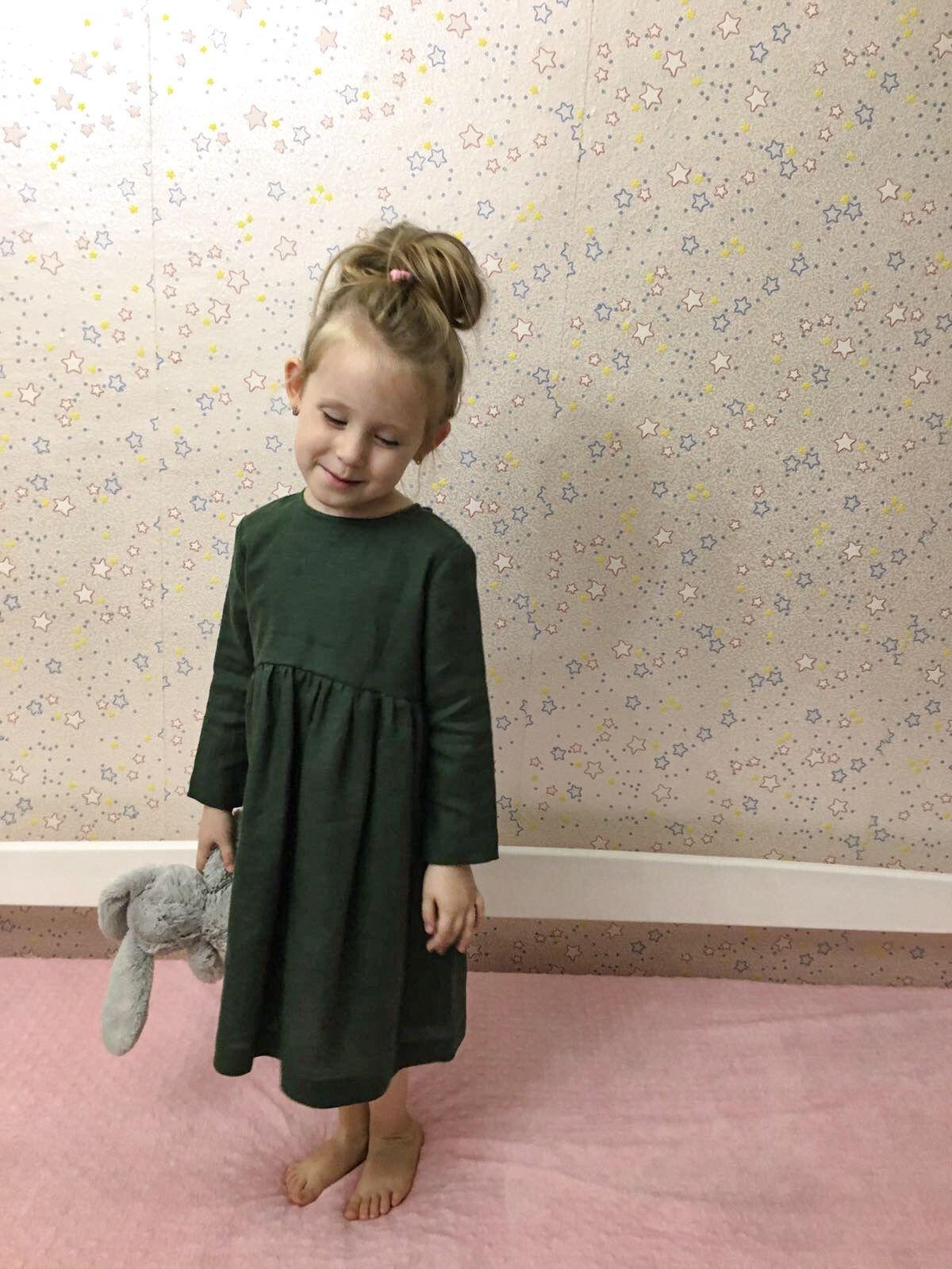 Toddler Linen Dress Thanksgiving girl gift Christmas girl dress Photo Shooting Girl Dress Linen Green Girl Dress Birthday Girl Dress
