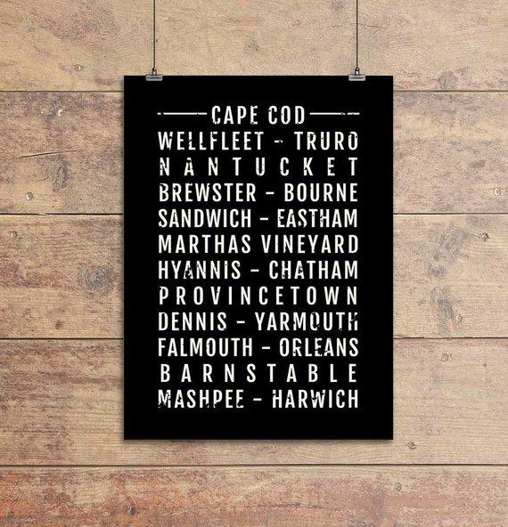 Cape Cod Print - The Cape Towns Neighborhoods - Subway Poster, Boyfriend Gift, Husband Gift, Wall Ar