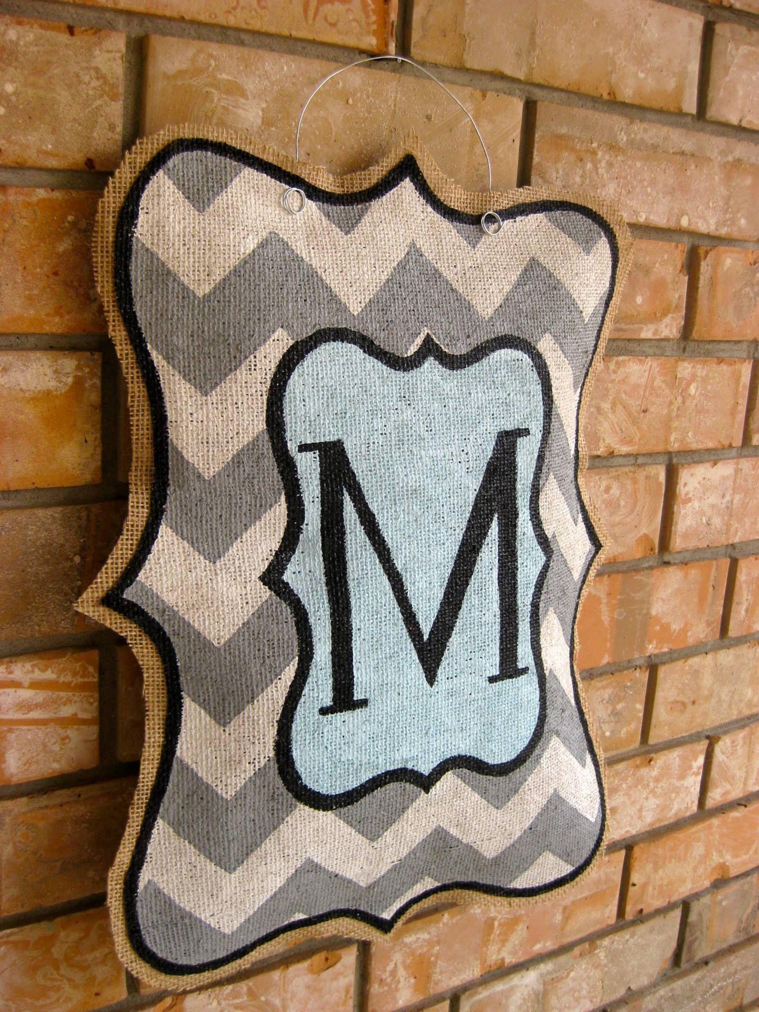 painted burlap door hangers   Be the first to review \u201cChevron Monogram\u201d Click here to cancel . & DIY Burlap Door Hanger Tutorial...Materials Needed: Burlap Hot ...