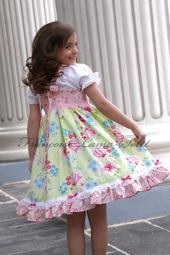 Mädchen Ostern Kleid grün rosa Kleid Mädchen Frühling ...