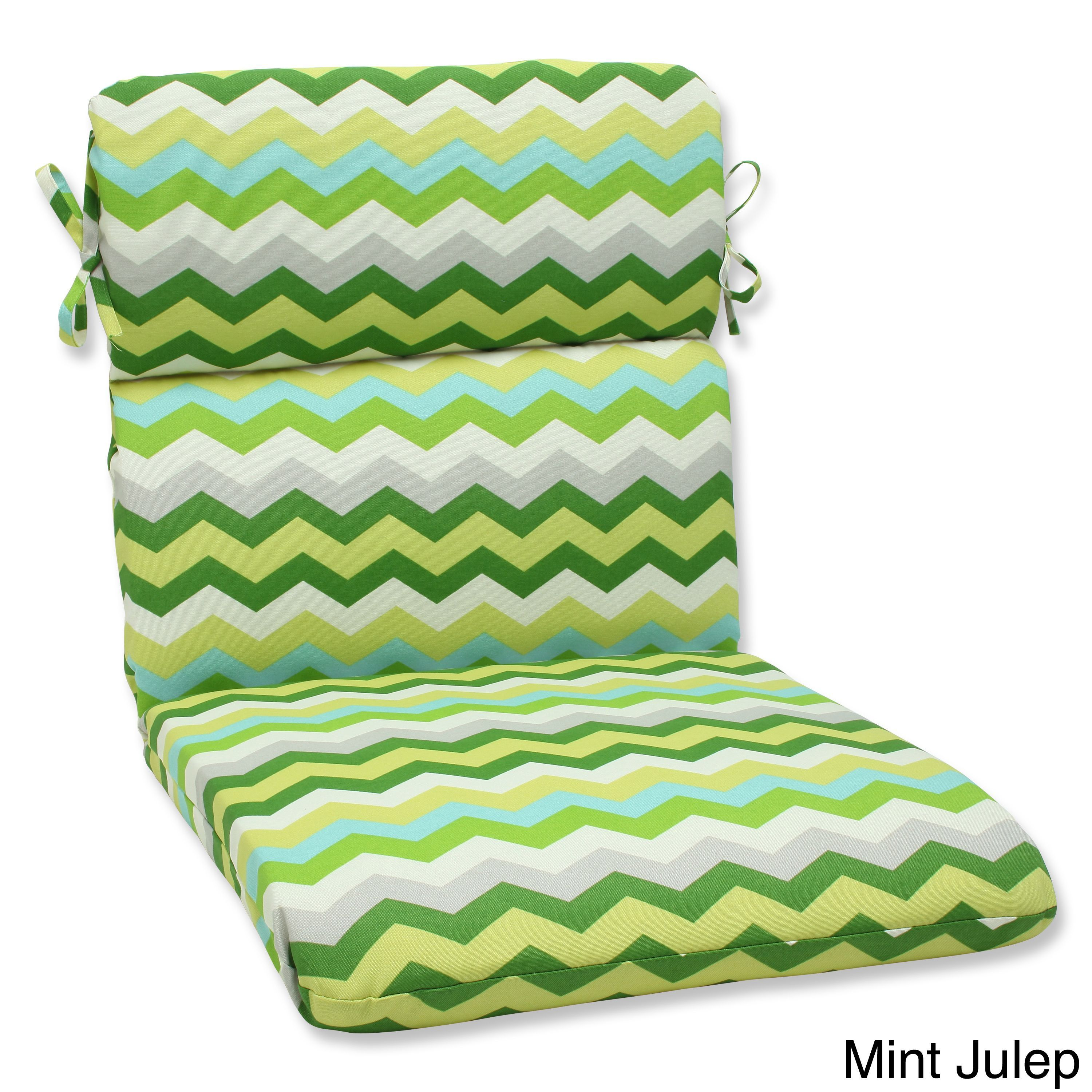 Pillow Perfect Panama Wave Rounded Corners Chair Outdoor Cushion (Mint Julep), Green (Fabric), Patio Furniture