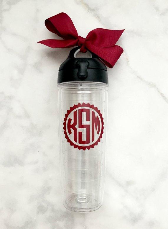 18db55b04b8 Monogrammed Tervis Water Bottle, 24oz, Monogrammed Gift, Monogram Tervis  Water Bottle, School Water