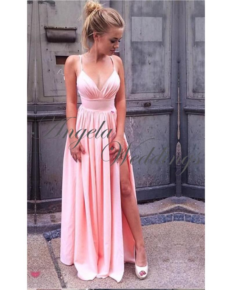 pink prom dresses split long chiffon party gowns in