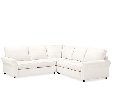 pb comfort roll arm upholstered 3 piece l shaped corner sectional rh ar pinterest com
