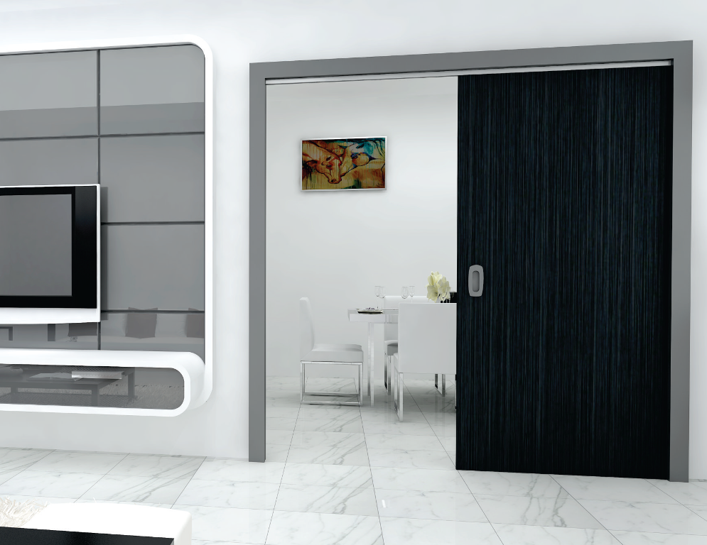 classic 100 f sly flush straight flush sliding system for wooden doors 100 kg per panel. Black Bedroom Furniture Sets. Home Design Ideas