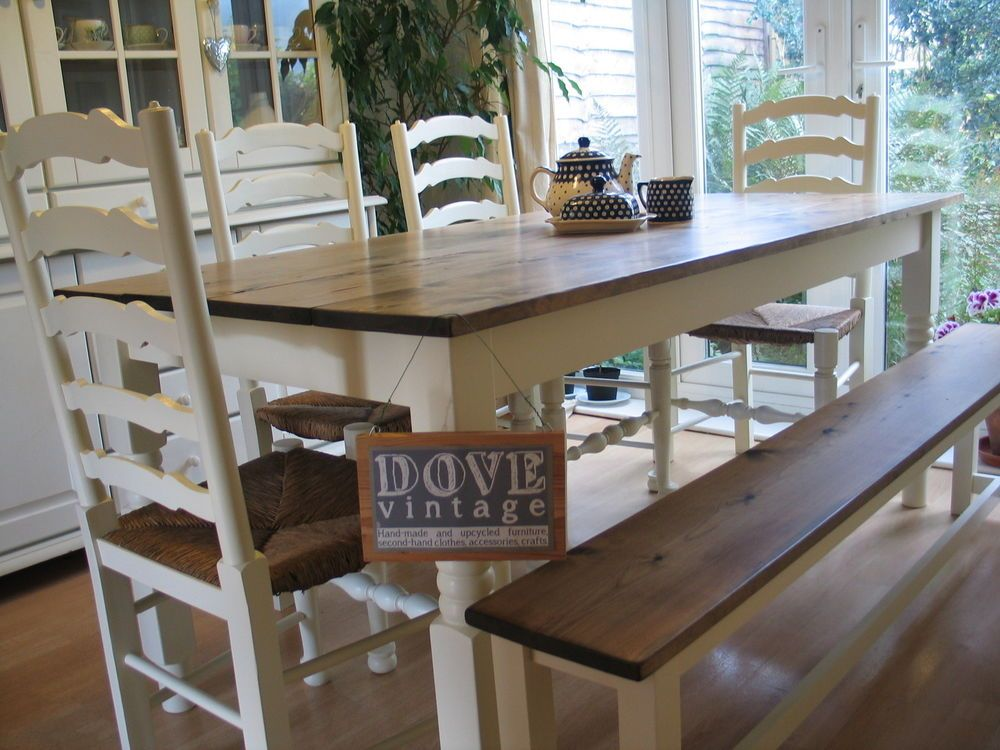 farmhouse table and chairs with bench retro egg chair large chunky pine board dining 4 seat 8 shabby chic