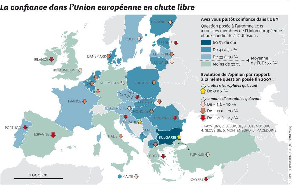 CARTOGRAPHIE. La confiance dans l'Union européenne au plus