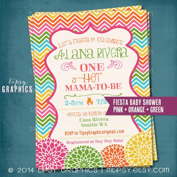 One Hot Mama. Floral Chevron. Baby Shower Fiesta Or Party