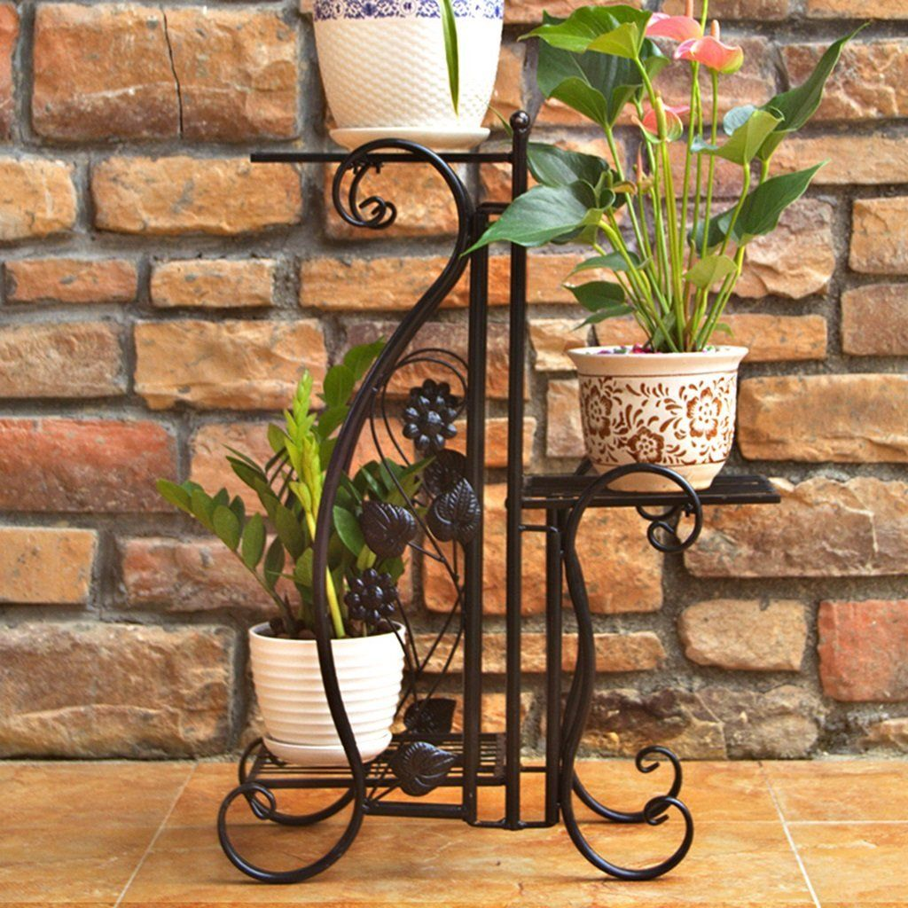 Amazon Com Plant Racks Wrought Iron Flower Stand Balcony Living Room Indoor And Outdoor Plant Stand Floor Sta Flower Stands Plant Stands Outdoor Flower Pots