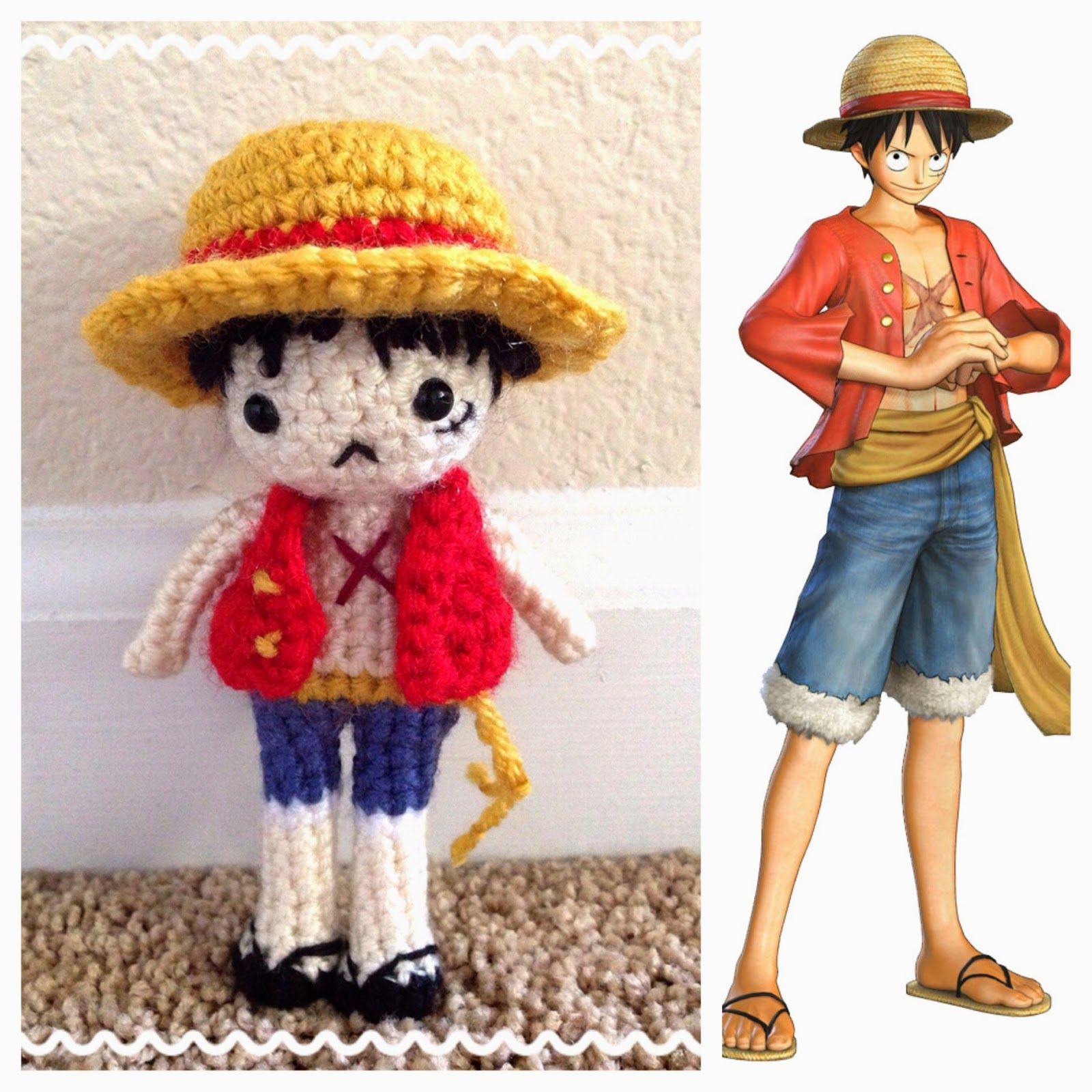 Monkey D. Luffy [ONE PIECE] - Amigurumi Crochet Doll Japanese anime manga craft pattern DIY straw hat yarn