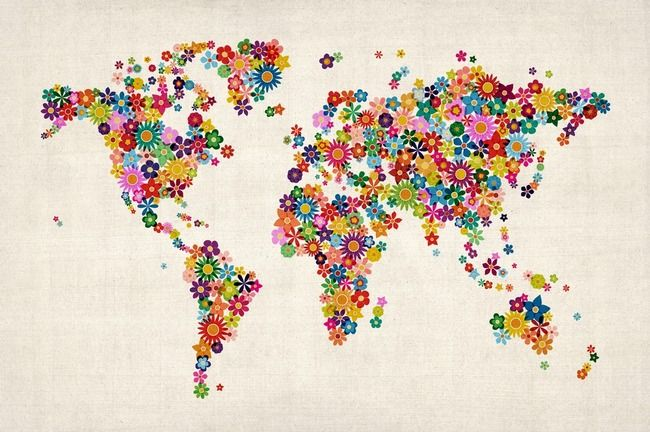 Radiant kids 3 5 grade room flower world map kids room pinterest explore world map art world map canvas and more gumiabroncs Choice Image