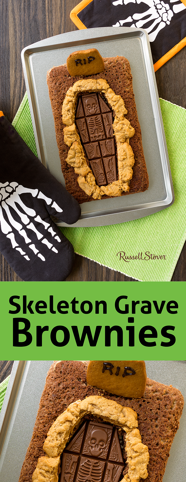 make your pan of brownies into a spooky halloween dessert. lay a