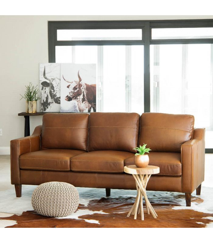 Goldman Leather Couch - Light Brown in 2020 | Light brown ...