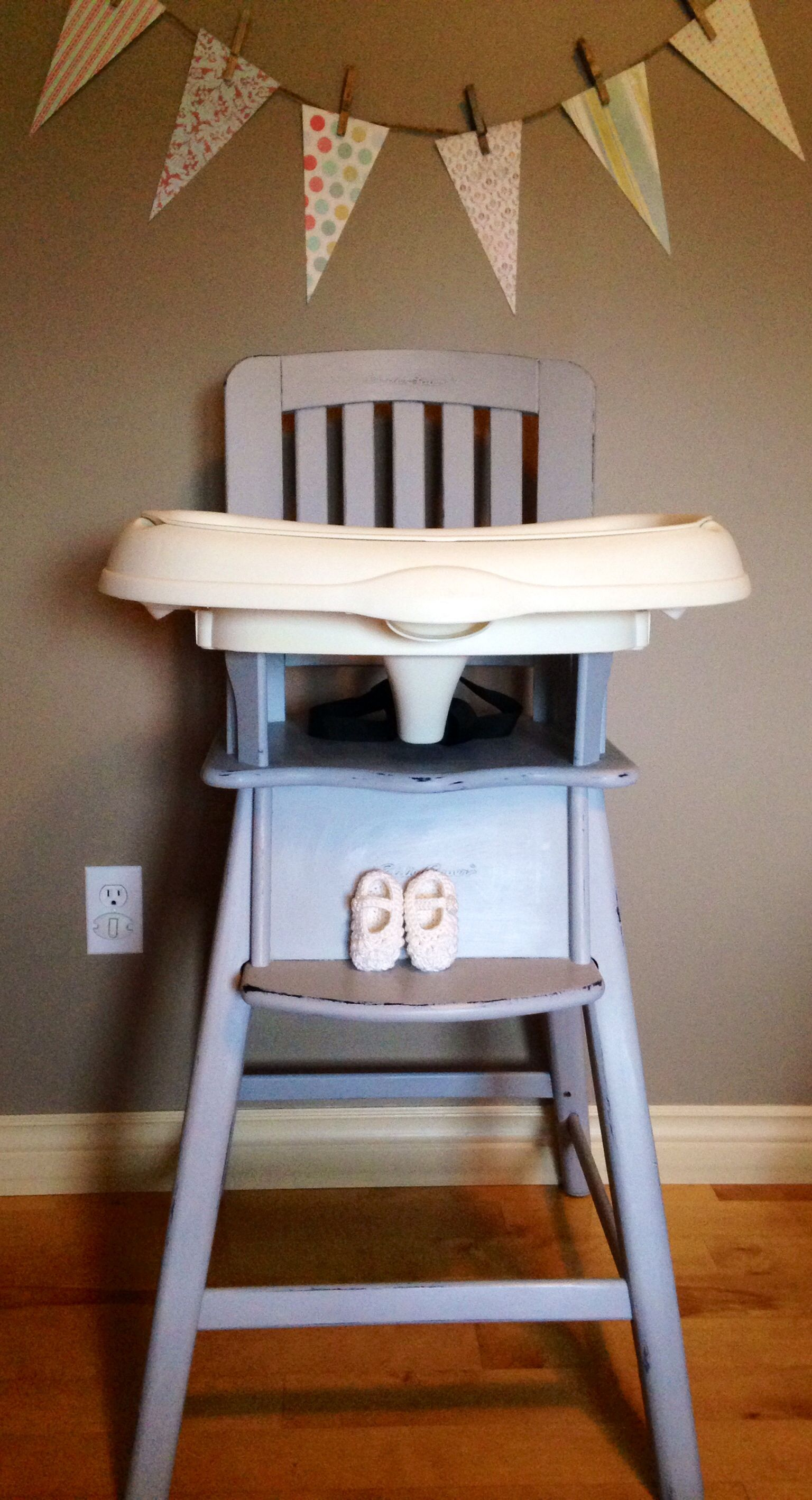 Wonderful Re Loved Eddie Bauer Wood High Chair Painted In ASCP Paris Grey, Distressed  And