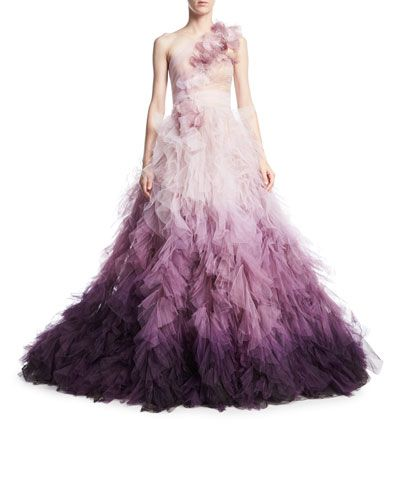 MARCHESA OMBRE TULLE ONE-SHOULDER BALL GOWN. #marchesa #cloth ...