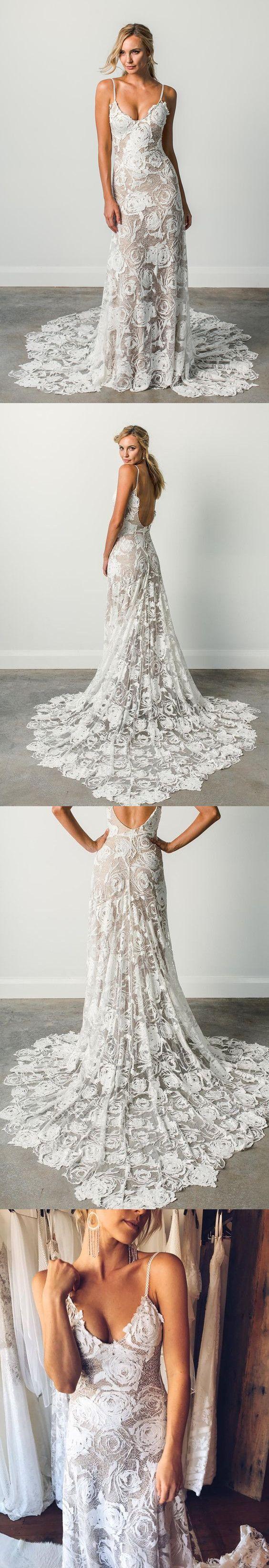 Charming spagetti strap vneck sweep train tight lace beach wedding