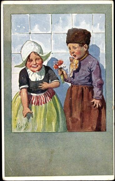 Künstler Ak Feiertag, Karl,♥ Trachten Niederlande,Kinder