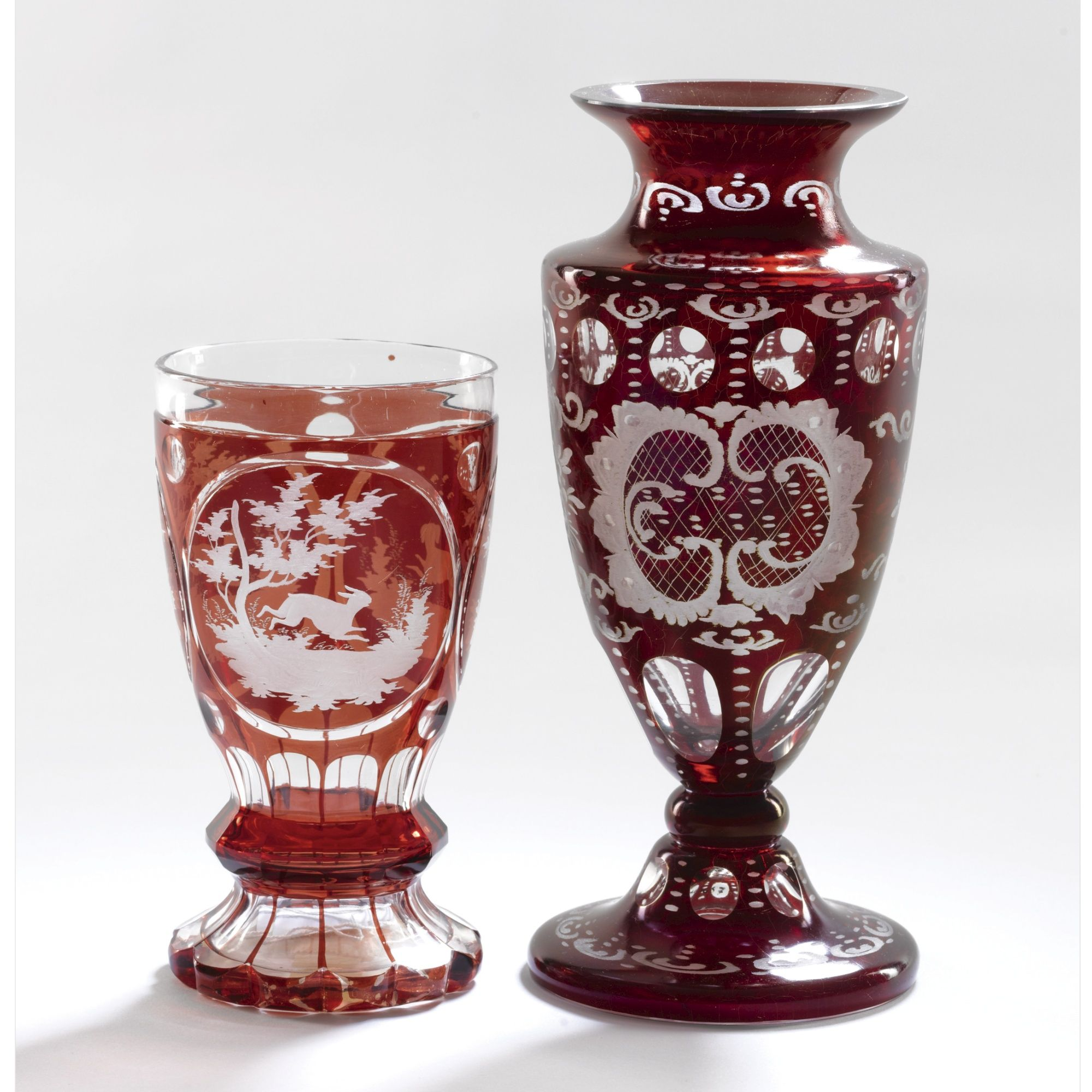 A Bohemian Ruby Glass Overlay Goblet And Vase Second Half 19th Century Bohemian Glass Antique Glass Glass Artwork