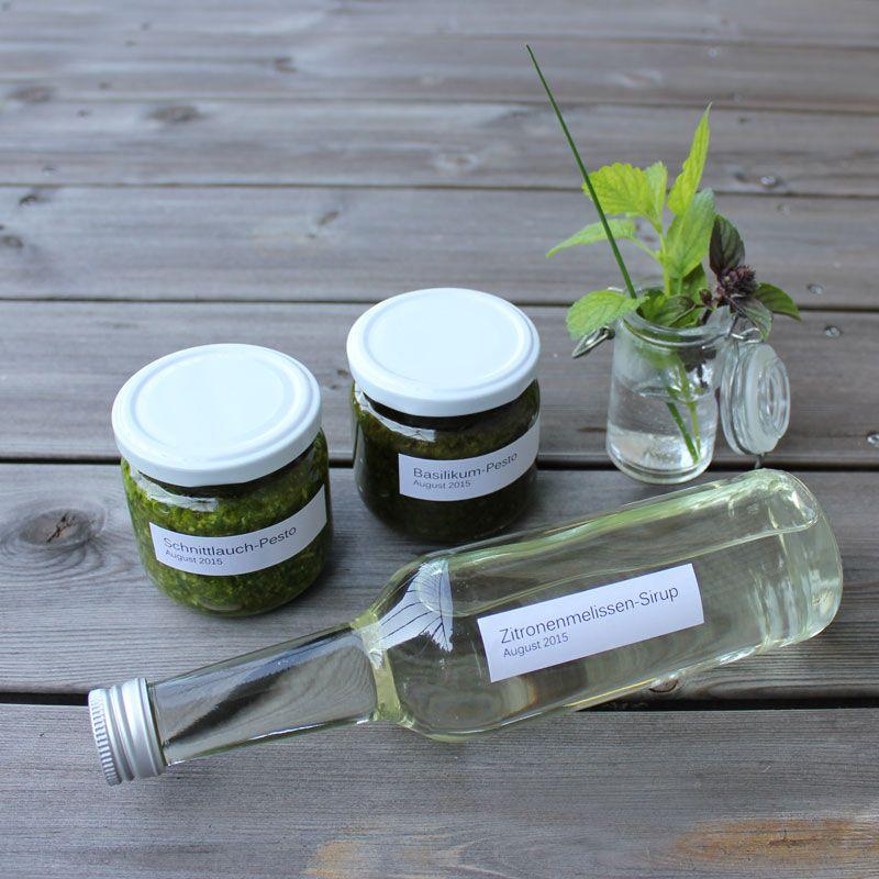 Konservierte Gartenfreude | Schnittlauch-Pesto, Basilikum-Pesto, Zitronenmelissen-Sirup | kugelig.com