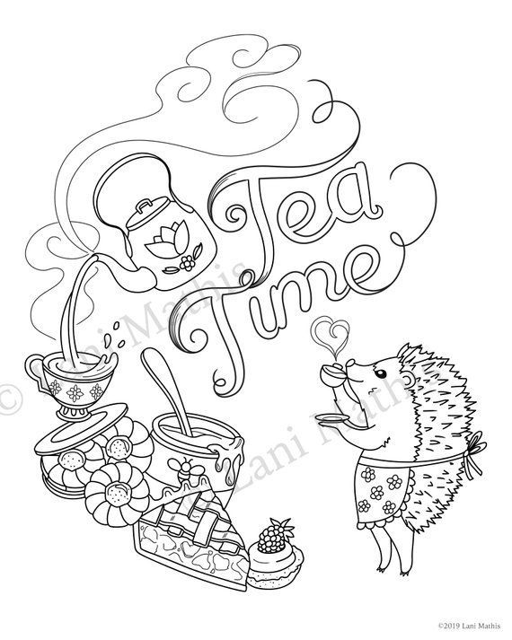 printable digital coloring page tea time for harriet