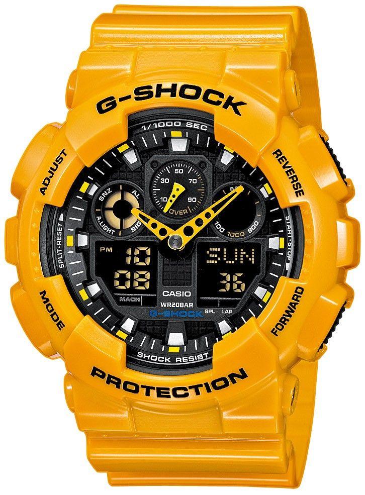4b70144590e Casio G-Shock Mira los hombres-Amarillo. GA-100A-9A