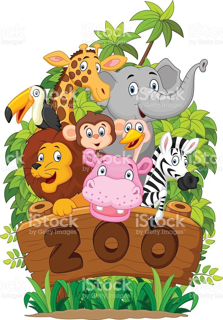 illustration of Collection of zoo animals Cartoon zoo