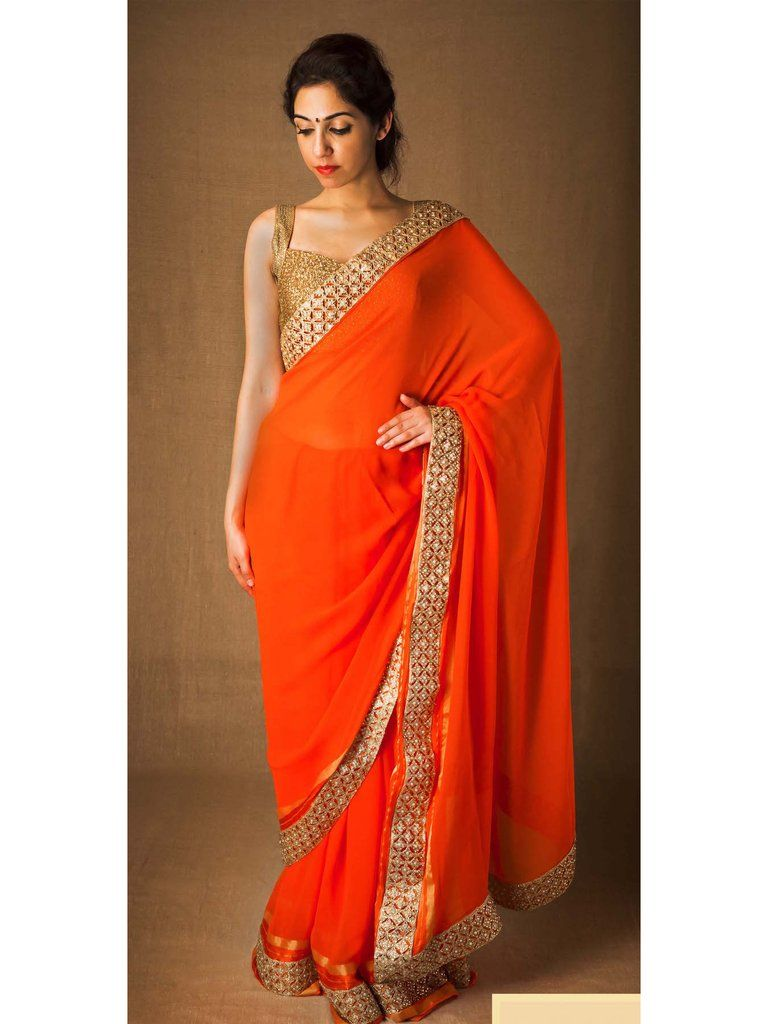 orange-gold-georgette-saree-with-golden-cutwork-and-stone ...