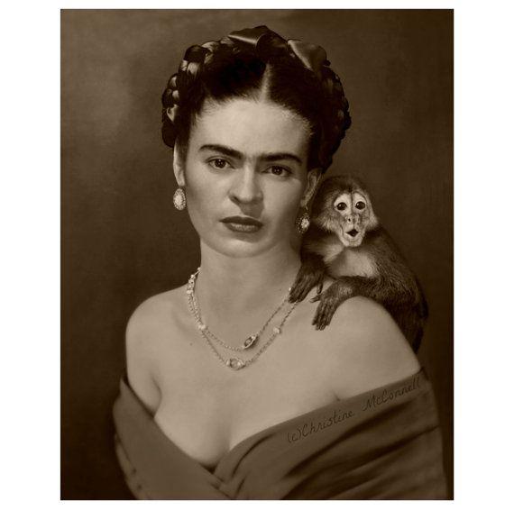 frida kahlo art print after self portrait with monkey. Black Bedroom Furniture Sets. Home Design Ideas